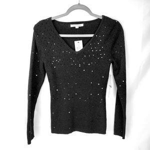 Mercer Street Studio Sparkle Black V Neck Sweater